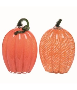 Glass Flat Orange Pumpkin 2 Asst