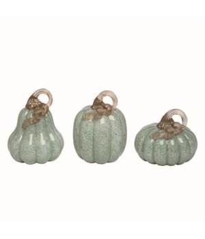Lg Glass Grn Pumpkins w/Gold Accent S/3