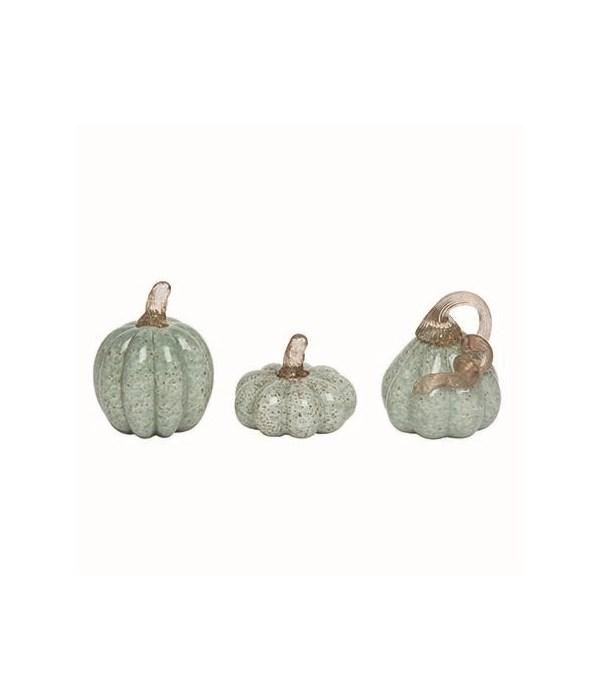 Sm Glass Grn Pumpkins w/Gold Accent S/3