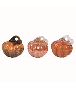 Glass Bright Orange Pumpkin 3 Asst