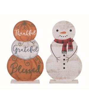 MDF Double Sided Pumpkin/Snowman Decor
