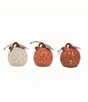 Lg Dol Light Up Rustic Pumpkin 3 Asst