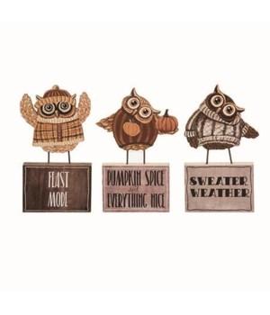 MDF Standing Owl Block Decor 3 Asst