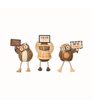Res Owl In Sweater Shelf Sitter 3 Asst