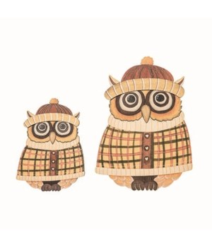 Plywood Autumn Owls In Sweaters S/2