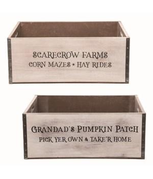 Lg MDF Rustic Harvest Crate 2 Asst