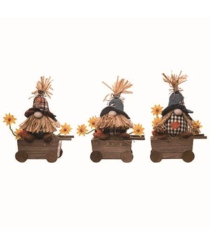 Plush Wheelbarrow Gnomes 3 Asst