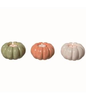 Dol Pumpkin Tea Light Holder 3 Asst