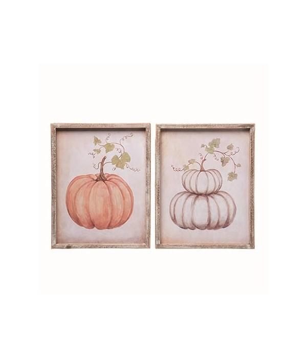 Wood Framed Pumpkin Decor 2 Asst