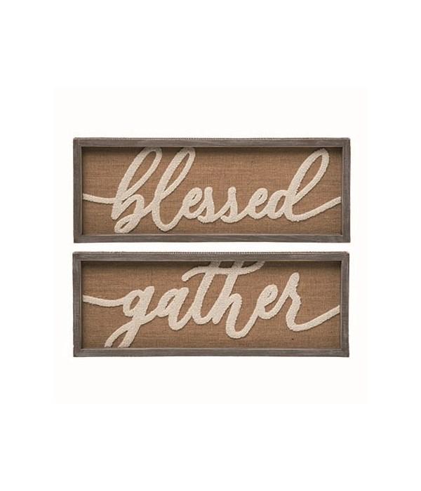Wood Gather/Blessed Frame Decor 2 Asst