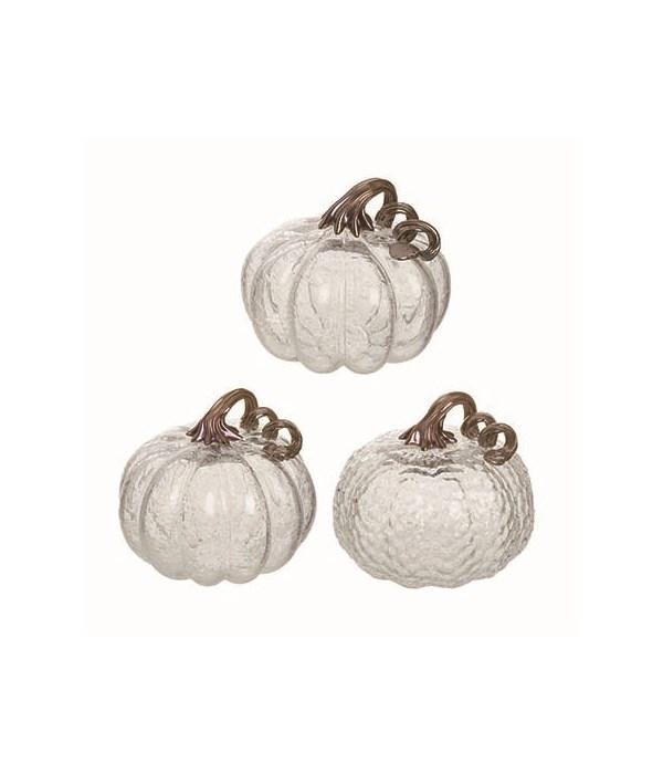 Clear Bubble Glass Pumpkin 3 Asst