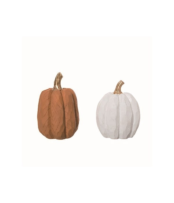 Res Carved Pumpkin Decor 2 Asst
