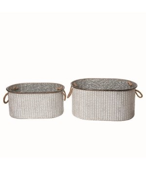 Metal Herringbone Baskets S/2