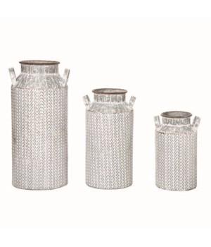 Metal Herringbone Jug Containers S/3