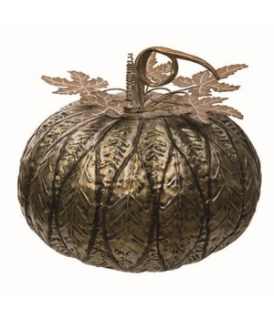 Lg Metal Gold Pattern Pumpkin Decor
