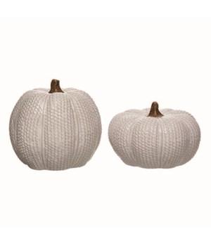 Cer Knit Pumpkins S/2