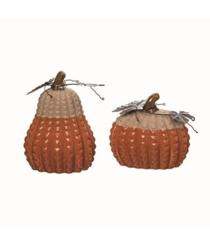 Cer Orange Pumpkin Decor 2 Asst