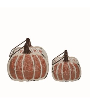 Metal Pumpkin Containers S/2