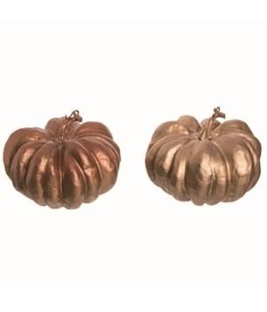 Foam Gold & Copper Round Pumpkin 2 Asst
