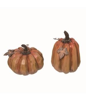 Res Wooden Pumpkin Decor 2 Asst