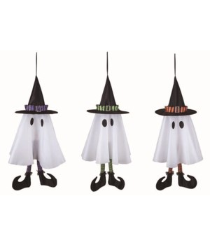 """Fabric 26"""" Animated Striped Ghost 3 Asst"""