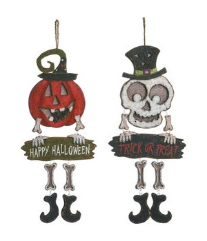Plywood Spooky Greeting Decor 2 Asst