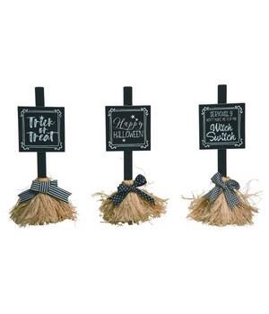 Sm MDF/Straw Broom Decor 3 Asst