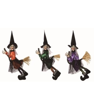 Polyester Light Up Flying Witch 3 Asst