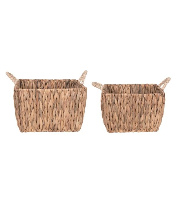 Natural Grass Baskets w/Beaded Handles S/2