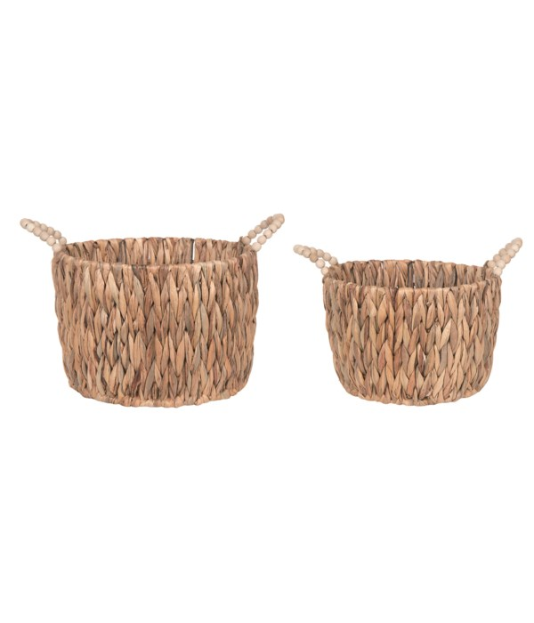 Natural Grass Basket Round w/Beaded Handles S/2