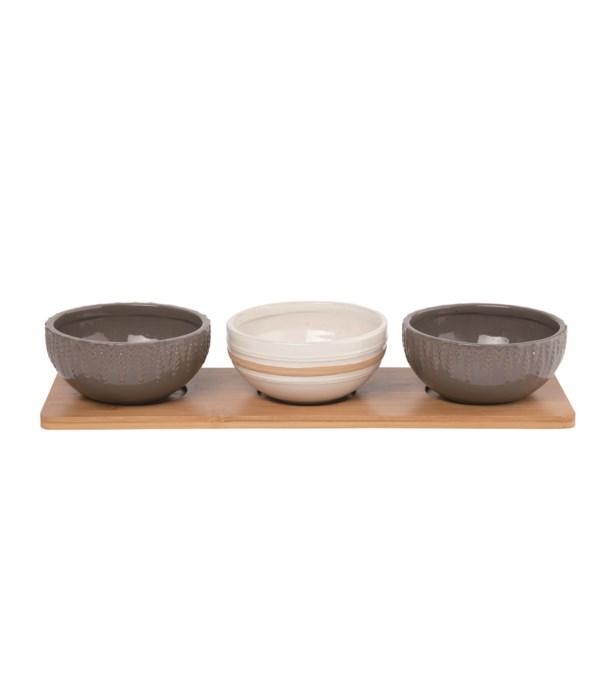 Stoneware Bowl w/Wood Tray S/4