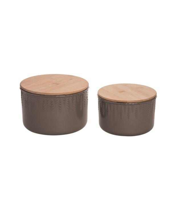 Stoneware Storage Containers S/2