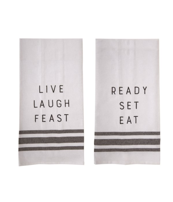 Fabric Embroidered Tea Towels 2 Asst