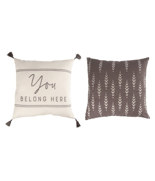 Fabric Embroidered Pillow 2 Asst