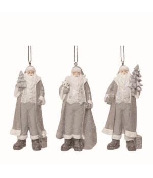 Res Gray Coat Santa Orn 3 Asst