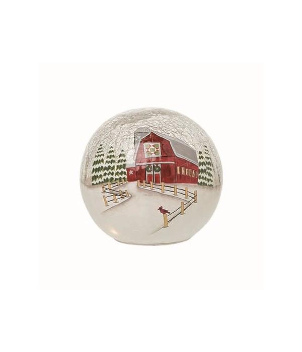Glass Light Up Red Barn Globe