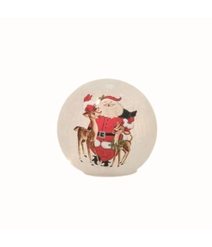 Glass Light Up Nostalgic Santa Globe