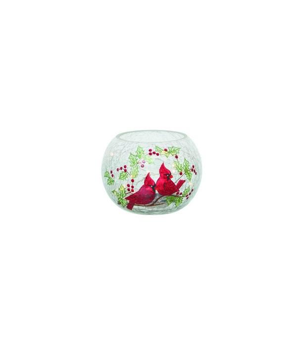 Glass Light Up Cardinal Round Vase