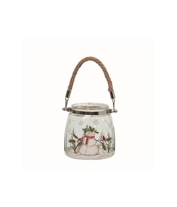 Sm Glass L/U Snowman w/Cardinal Lantern