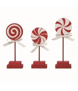 MDF Candy Cane Lollipop Decor 3 Asst