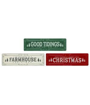 Metal Farmhouse Christmas Decor 3 Asst