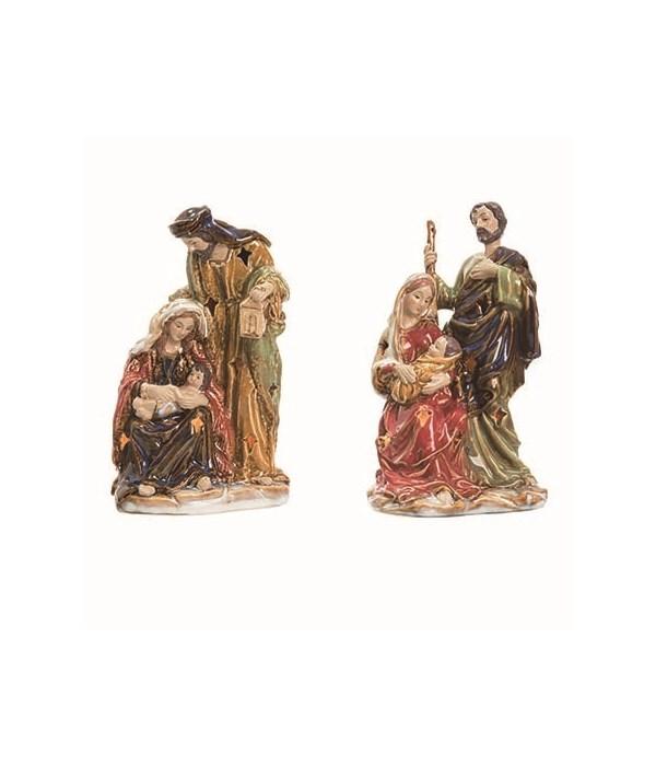 Cer L/U Painted Nativity Decor 2 Asst