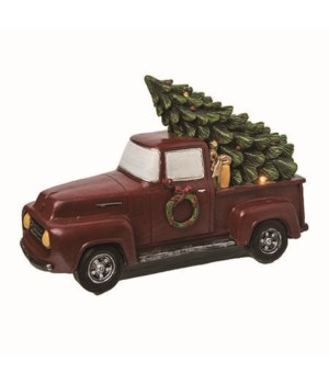 Res Light Up Red Christmas Truck
