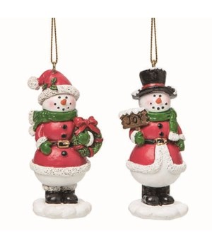 Res Red Outfit Snowman Orn 2 Asst
