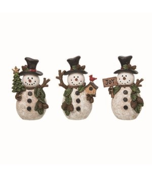 Res Woodsy Snowman Fig 3 Asst