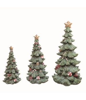 Res Christmas Glitter Tree Figs S/3