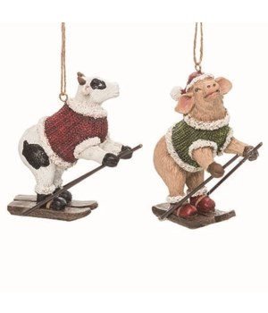 Res Skiing Jolly Cow/Pig Orn 2 Asst