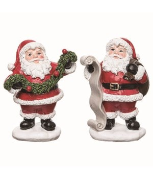 Res Santa w/List Garland Fig 2 Asst