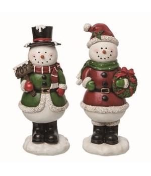 Lg Shimmering Snowman Fig 2 Asst