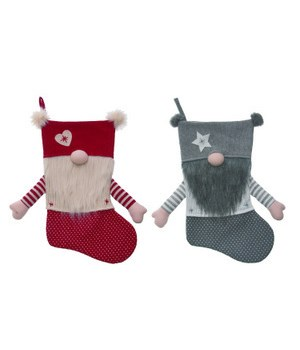 Fabric Gnome Stocking 2 Asst
